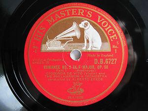 Details About 78rpm Gioconda De Vito Violin Beethoven Romance No2 Original Hmv