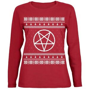Satanic Christmas Sweater.Details About White Satanic Pentagram Ugly Christmas Sweater Red Womens Long Sleeve T Shirt