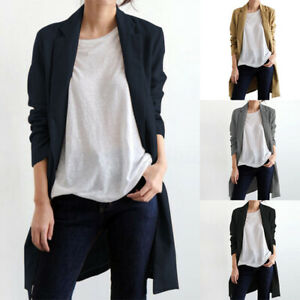 Mode-Femme-Blazer-Cardigans-100-coton-Poche-Simple-Loose-Ample-Plus-Longue