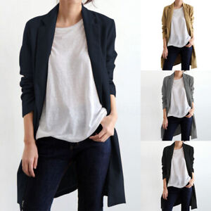 Mode Femme Blazer Cardigans 100% coton Poche Simple Loose Ample Plus Longue