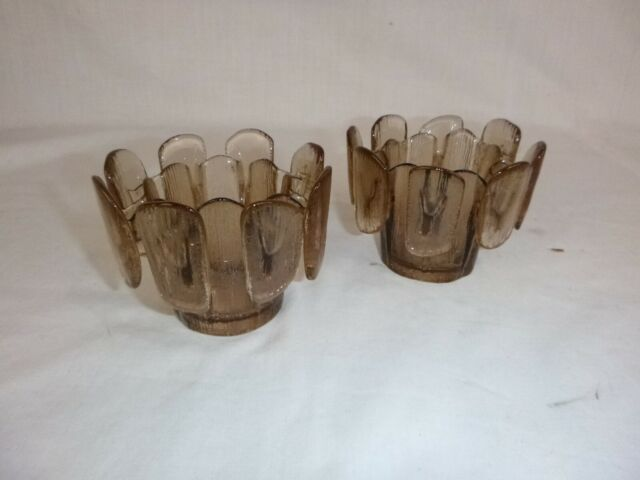 Pr Vtg Viking Finnish Crown Votive Candle Holders Brown W/ Tags 3