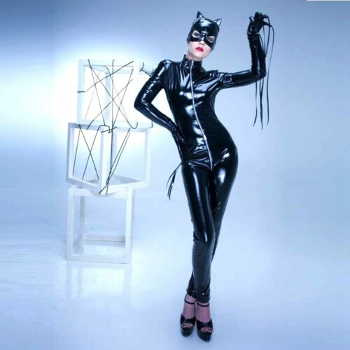 Leather Catwoman Cosplay Costume Black Red Zentai Skin Suit Jumpsuit Mask