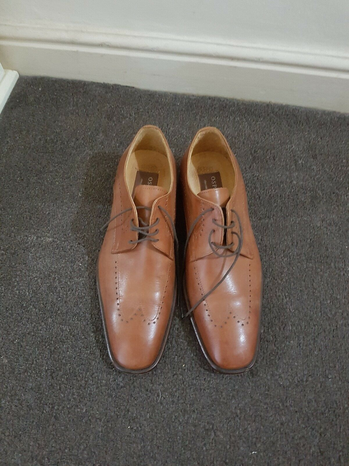 OSPREY GRAEME ELLISDON MEN'S TAN BROWN LEATHER LACE BROGUES SMART SHOES 8
