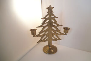 Vintage Brass Christmas Tree Candle Holder.Details About Vintage Brass Metal Christmas Tree Candle Holder