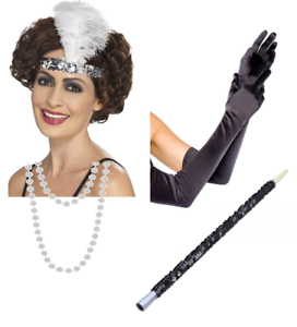 Da Donna con paillette Flapper Peaky Blinder anni/'20 Charleston Costume Accessori LOTTO
