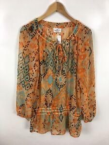 BENOTTI-Damen-Bluse-Shirt-Groesse-M-40-42-Mehrfarbig-ausgefallen-transparent