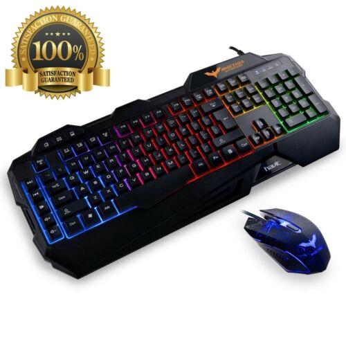 Gamerz Led Light Rainbow Backlit Wired Gaming Keyboard Pro Mouse Combo Black DPI