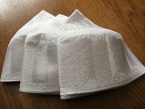 NEW-HIGH-QUALITY-EMBROIDERED-WHITE-PRAYER-HAT-TOPI-KUFI-SKULL-CAP