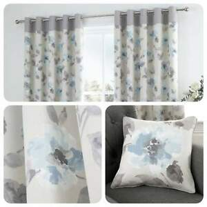 Fusion-ADRIANA-Duck-Egg-Blue-Floral-100-Cotton-Eyelet-Curtains-amp-Cushions