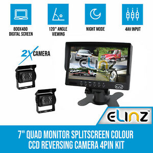 "7"" Quad Monitor Splitscreen CCD Reversing 2 Cameras Package 4PIN Kit Truck Car"