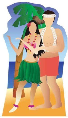Hawaiano Pareja Soporte Fiesta en la Playa Silueta de Cartón