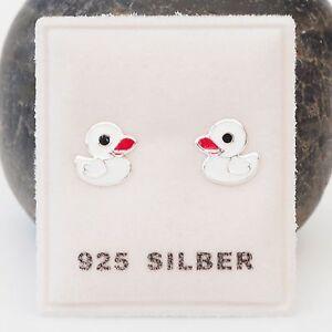 NEU-925-Silber-OHRSTECKER-ENTEN-in-weiss-rot-schwarz-ENTCHEN-DUCK-OHRRINGE