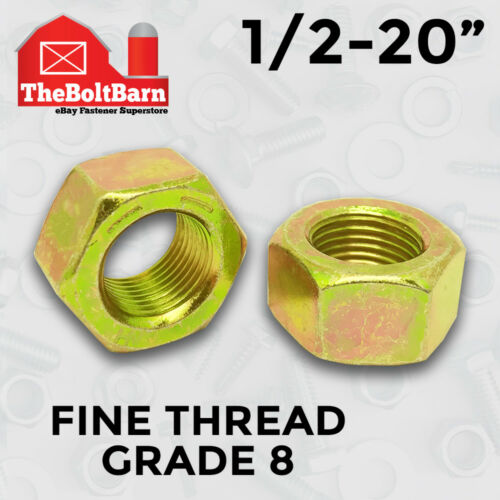 """100 1//2-20/"""" Grade 8 Finished Hex Nuts Zinc Yellow FINE THREAD"""