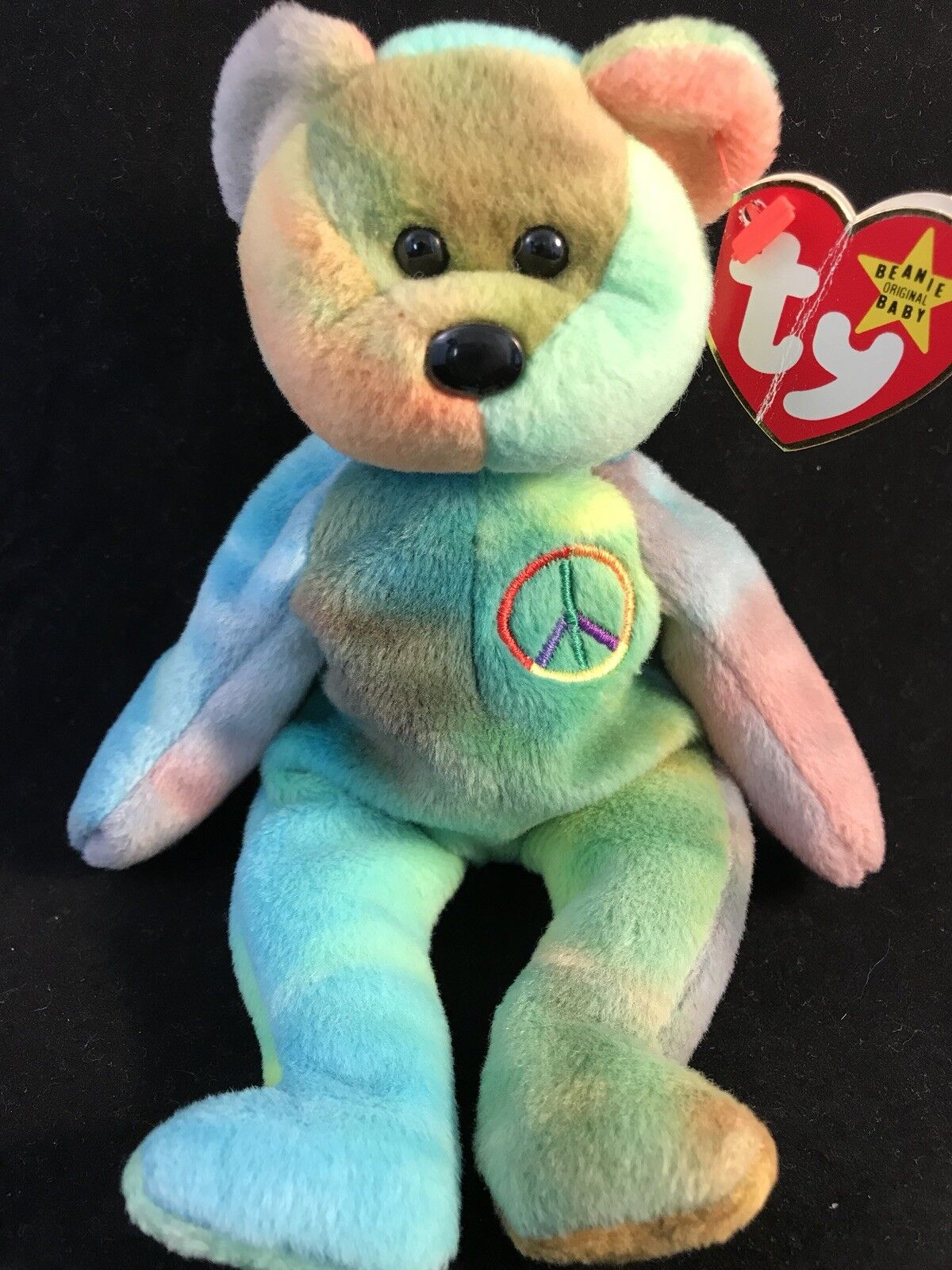 RARE PVC Peace Bear 1996 Retired Ty Beanie Baby Genuine MINOR Errors