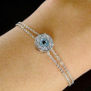 Details about w Swarovski Crystal Baby Blue ~Evil Eye Amulet Nazar Flower 2  Chain Bracelet New a3c9a32581cc