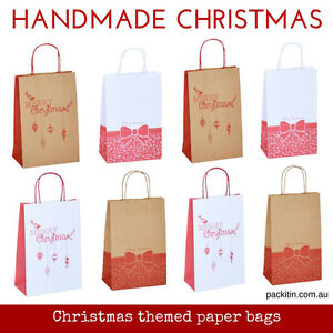 x10-CHRISTMAS-PAPER-BAGS-with-carry-handle-choose-design-amp-colour-white-kraft