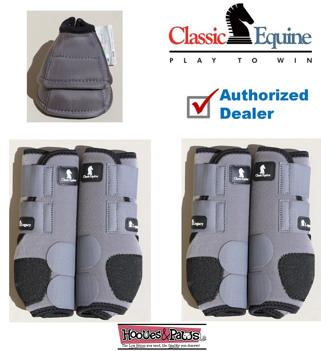 SMALL Grey CLASSIC EQUINE Front Rear Legacy Horse Sports Leg No Turn Bell Boots