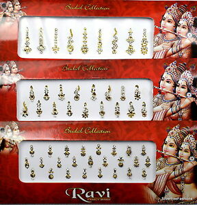 1 PACK of GOLD Long Multi Pack 9 17 25's Indian BRIDAL Gem TIKKA Festival BINDI