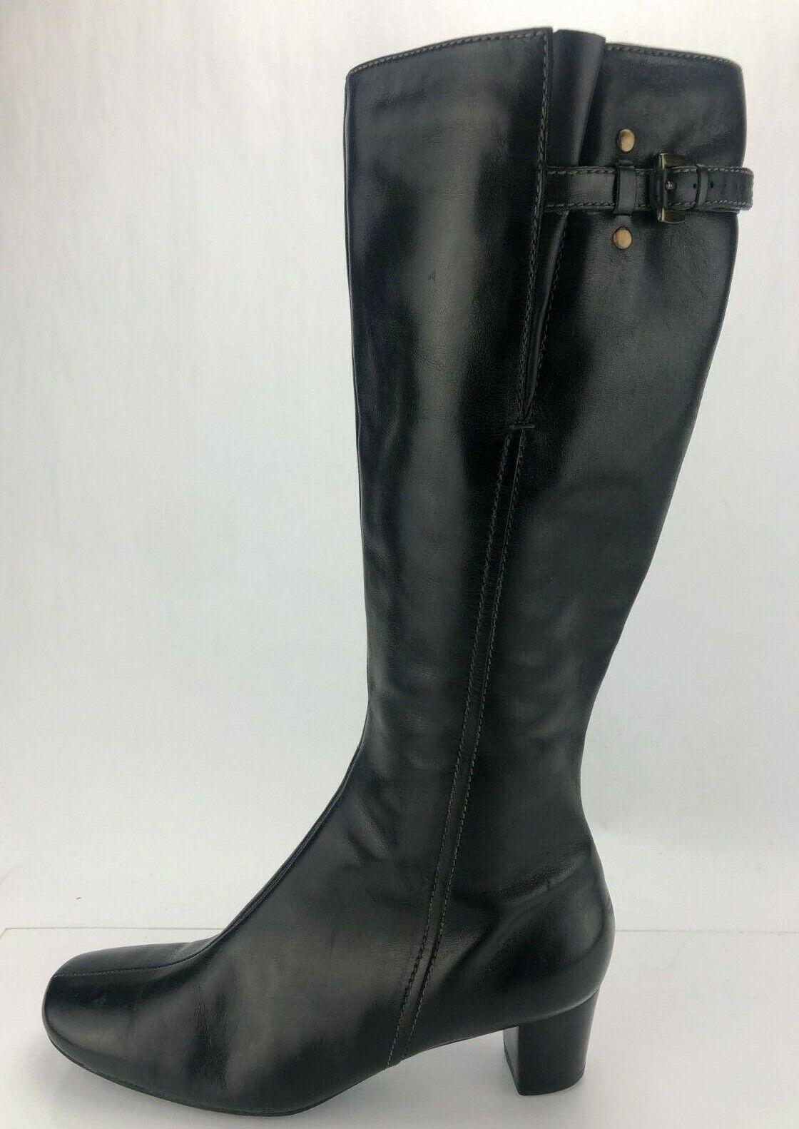 Ecco la Rodilla botas Altas Cuero Negro Cremallera Lateral Alto Tacones De Moda Para Mujer 40 9 9.5