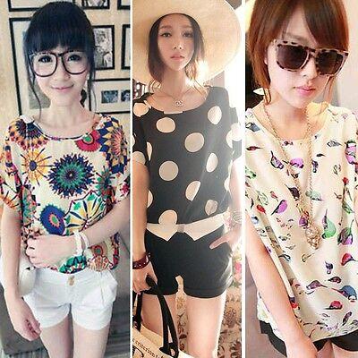 Chic Korean Chiffon Womens Casual Batwing Sleeve Round Neck Print Shirt Tops AU