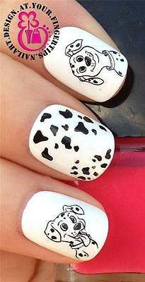 NAIL ART WATER TRANSFERS/STICKERS/DECALS 101 DALMATIANS SPOTTY PUPPY DOGS #467