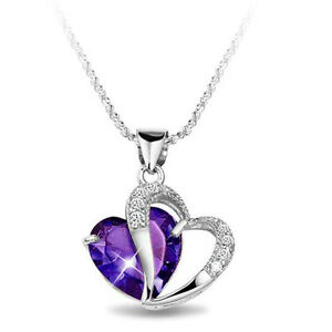 925-Sterling-SILVER-Amethyst-Purple-HEART-SWAROVSKI-Crystal-NECKLACE-SS1028-Gift