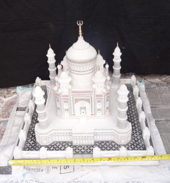 "18"" Marble India Taj Mahal Mughal Kalin Shahjahan filigree work Handmade Gifts"