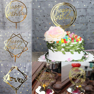 Image Is Loading Happy Birthday Cake Topper Card Banner Acrylic