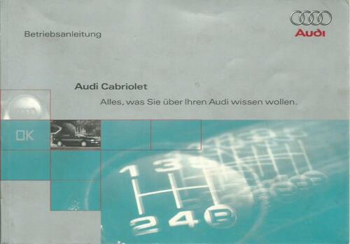 AUDI CABRIO manuale di istruzioni 1997 manuale Cabriolet manuale BA