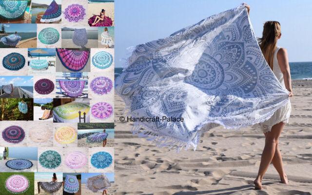 "Lot 10 PC Wholesale Indian Round Tapestry Mandala Beach Seat Yoga Mat Tassel 72"""