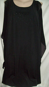Autograph-Black-sparkle-shoulder-overlay-occasion-DRESS-26-NEW-kimono-sleeve