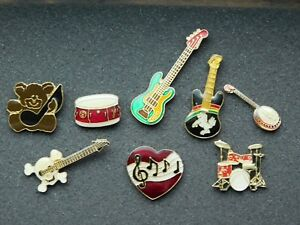 VINTAGE 8 METAL PINS MUSIC GUITARS BANJO DRUMS TEDDY BEAR