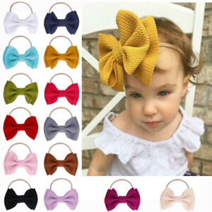 Big-Bow-Headband-Nylon-Hairband-Girls-Baby-Knotted-Turban-Head-Wraps-Elastic-New
