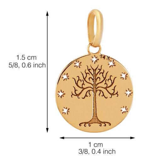 14k pur Solid or jaune arbre de vie étoiles Rond Charme délicat