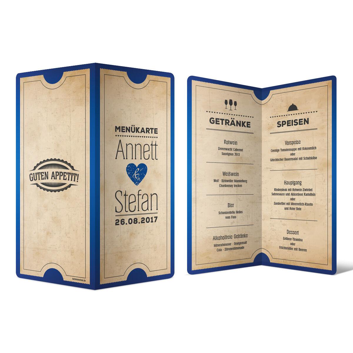 Menükarten Hochzeit -  Vintage Herz in Blau - Speisekarte Getränkekarte  | Ästhetisches Aussehen  | Deutschland Frankfurt