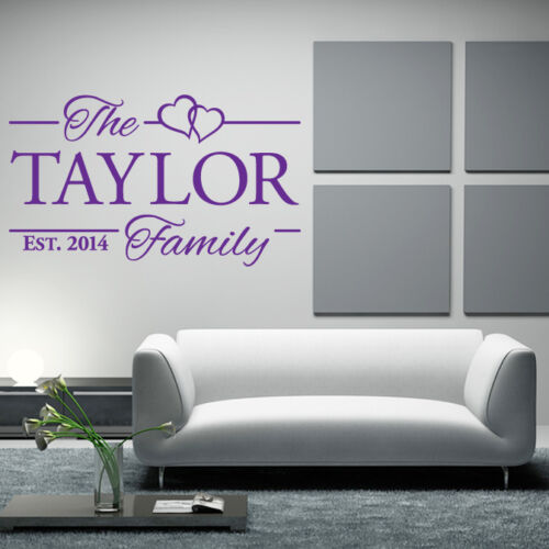 Personalised FAMILY custom surname name wedding wall sticker art decal kitchen