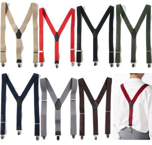 Mens Womens Elastic Suspenders Leather Braces Y-Back Adjustable Clip-on 8Colors