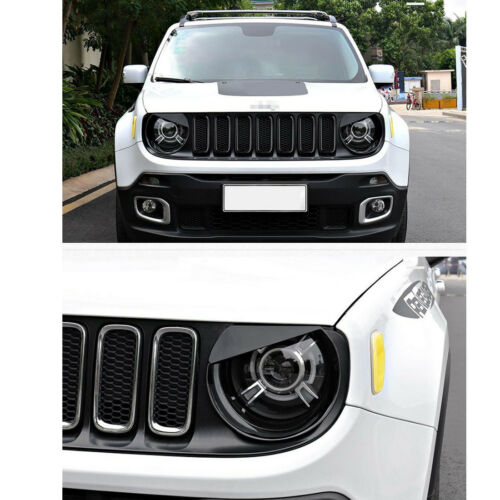 Pair Black Front Headlight Bezels Lamp Cover Trim For Jeep Renegade 15 16 17 18