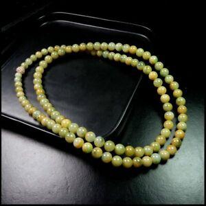【KOOJADE】 Icy Emerald Yellow With Green Jadeite Beads necklace《108》《GradeA》
