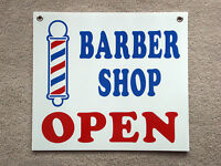 Barber Shop Open Coroplast Sign 16x18 With Grommets White