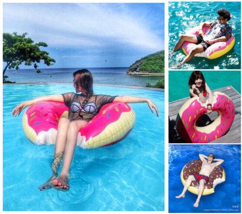 UK Adult Inflatable Donut Tube Pool Float Beach Swimming Swim Ring Funny 120CM