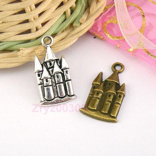 18Pcs Tibetan Silver,Antiqued Bronze Castle Charms Pendants M1545