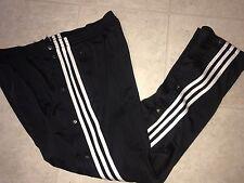 Adidas ~ Vtg Mens Trefoil Black Polyester Athletic Break Away Pants 3 Striped  L