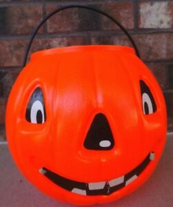 Vintage-Blow-Mold-Jack-O-Lantern-Halloween-Plastic-Pumpkin-Trick-or-Treat-Bucket