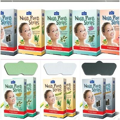 purederm facial nose peel-off pore strips,black head removal mask sheets,6 sheet