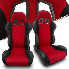 Black Red Fabricpvc Leather Leftright Recaro Style Racing Bucket Seats