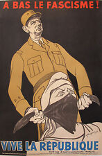 1951 ORIGINAL FRENCH DE GAULLE POSTER, ANTI-FACIST VINTAGE PROPAGANDA - FOUGERON