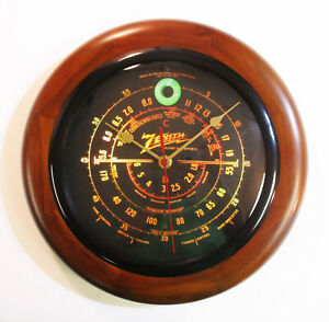 Old-Antique-Style-Zenith-Black-Dial-Wood-Wall-Clock-Vintage-Tube-Radio-Style
