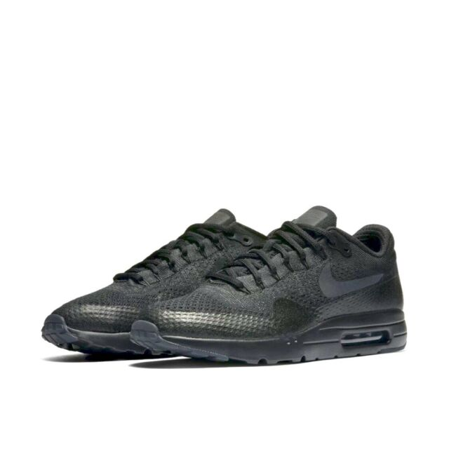 super popular cf96b 79c21 Nike Air Max 1 Ultra Flyknit Mens 856958-001 Triple Black Running Shoes  Size 10