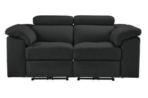 Argos Home Valencia 2+2 Seater Leather Sofa -Black Power Recliners